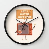 cartoons Wall Clocks featuring Weekend Mood by Teo Zirinis