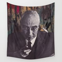 philosophy Wall Tapestries featuring The Philosophy of Composition by Collage Calamity