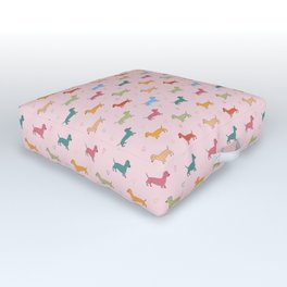 Multicolour Sausage Dog and Hearts Pattern (Pink) Outdoor Floor Cushion