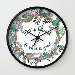 Trust in Jehovah and Do What is Good Wreath Wall Clock