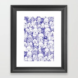 just alpacas blue white Framed Art Print