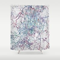 austin Shower Curtains featuring Austin map by MapMapMaps.Watercolors