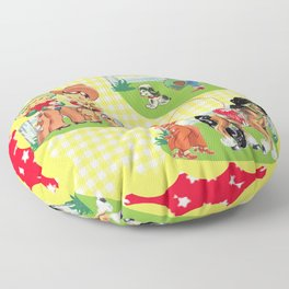 Cowboy and Cowgirl Kids On Yellow Check Floor Pillow