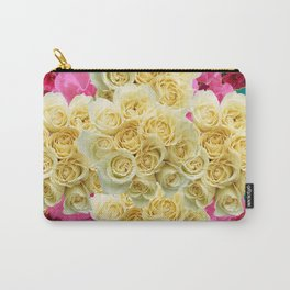 DECORATIVE TEAL & FUCHSIA PINK WHITE RED ROSES Carry-All Pouch
