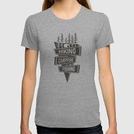 Hiking Campfire Fishing T-shirt