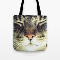 meow Tote Bags featuring Meow by BURNEDINTOMYHE∆RT♥
