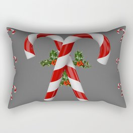 RED-WHITE  CHRISTMAS CANDY CANES HOLLY BERRIES Rectangular Pillow