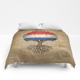 Vintage Tree of Life with Flag of The Netherlands Comforters