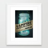 vampire weekend Framed Art Prints featuring VAMPIRE WEEKEND by Marc Osborne Illustration