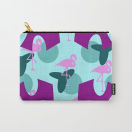 Leaves flamingos pink green pattern Carry-All Pouch
