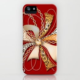 Decorative ornate luxury bow-tie. Claret red background. 2 iPhone Case