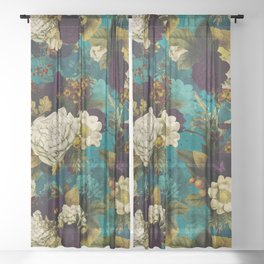 Before Midnight Blue Hour Vintage Fall Flowers Garden Sheer Curtain