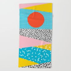 Check it - good vibes happy smiles fun modern memphis throwback art 1980's 80's 80s 1980s 1980 neon  Beach Towel