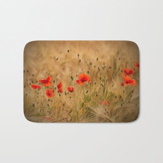 Golden cornfield with poppies Bath Mat