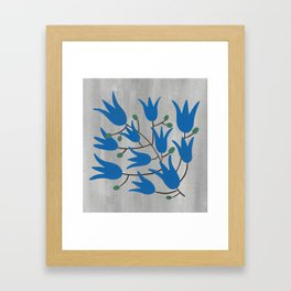 Blue Bell – Scandinavian folk art - Blue Bell Floral Framed Art Print