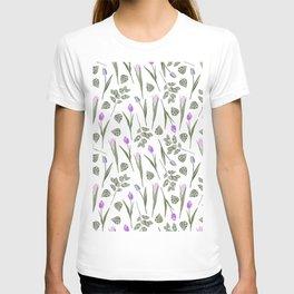 Elegant lilac blush pink blue watercolor tulips pattern T-shirt