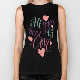 Love quotation handwriting Biker Tank