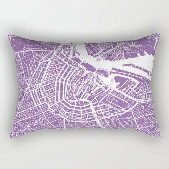Amsterdam map lilac Rectangular Pillow
