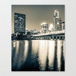 Austin Texas City Skyline Over The River - Sepia Monochrome Canvas Print