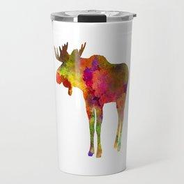 Moose 03 in watercolor Travel Mug