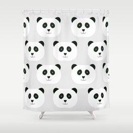 Panda Love Gray Shower Curtain