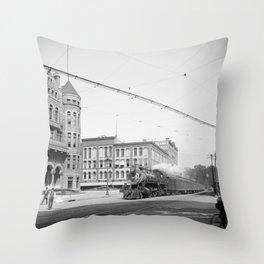 Empire State Express (New York Central Railroad) coming thru Washington Street, Syracuse, N.Y. Throw Pillow