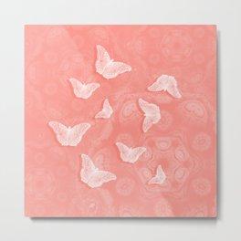 A flutter of butterflies on peach mandala patterns Metal Print