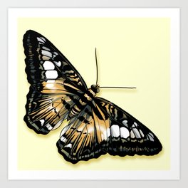Papillon jaune et noir Art Print