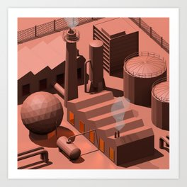 Low Poly Industry Art Print
