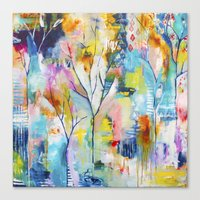 flora bowley Canvas Prints featuring Prussian Trees Original Painting by Flora Bowley by Flora Bowley