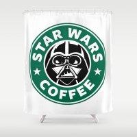 starwars Shower Curtains featuring StarWars Coffee by Unicity