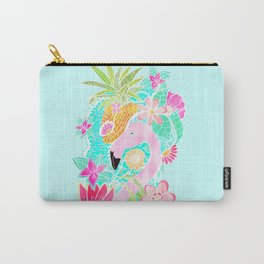Tropical summer watercolor flamingo floral pineapple Carry-All Pouch