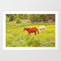 Horses Paradise Art Print