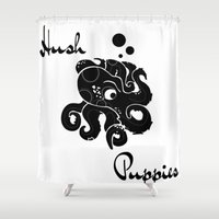 puppies Shower Curtains featuring Hush Puppies Japan by Mike Semler