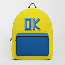 """""""OK"""" 3D Letters (Bright Neon Yellow, Blue) Backpack"""