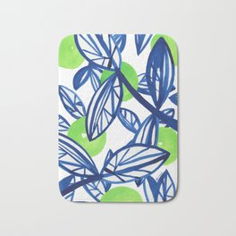 Blue and lime green abstract apple tree Bath Mat