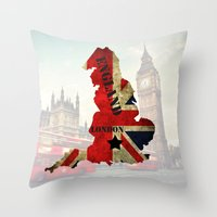 england Throw Pillows featuring ENGLAND by mark ashkenazi