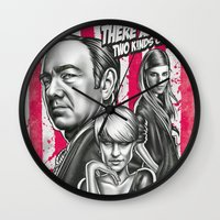 house of cards Wall Clocks featuring Two Kinds Of Pain - House Of Cards by Renato Cunha