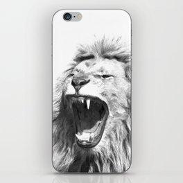 Black White Fierce Lion iPhone Skin
