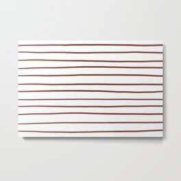Inspired by Dunn Edwards Spice of Life DET439 Hand Drawn Horizontal Lines on White Metal Print