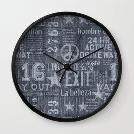 Denim Jeans Style Typography Design Cool Grey Wall Clock