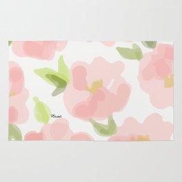 Floral watercolor pattern - pink roses Rug