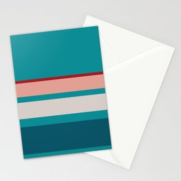 A captivating farrago of Blood (Animal), Pastel Pink, Silver, Dark Cyan and Philippine Indigo stripes. Stationery Cards