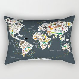 Cartoon animal world map for kids, back to schhool. Animals from all over the world Rectangular Pillow