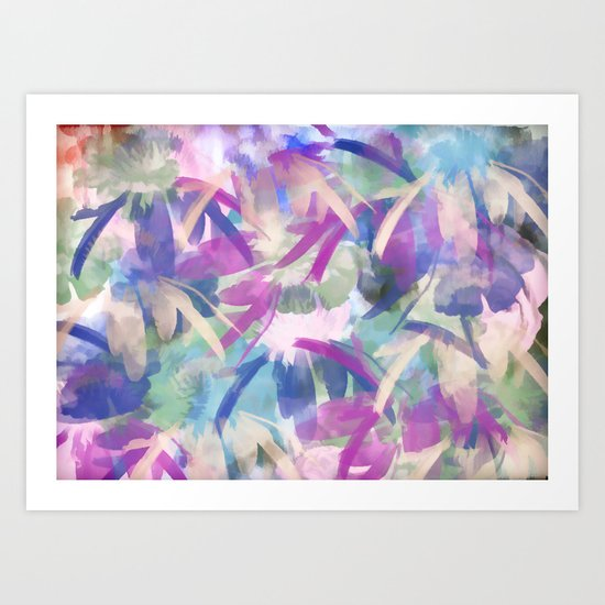 Pastel Floral Extravaganza Abstract Art Print
