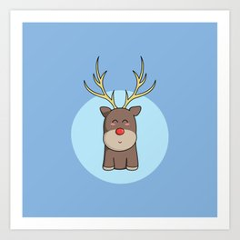 Cute Kawaii Christmas Reindeer Art Print