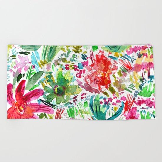 Spring vibes || watercolor Beach Towel