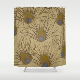 Peacock Screenprint Shower Curtain