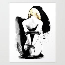 Hot bondage, Naked body tied up with rope, Nude art, Fetish sexy painting, Shibari bondage Art Print