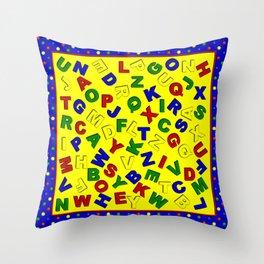 Primary Polka Dots BLUE Alphabet Throw Pillow